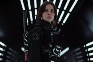 "Felicity Jones takes the lead in ""Rogue One"" and sets out to steal plans to destroy Darth Vader's Death Star. (Lucasfilm)"